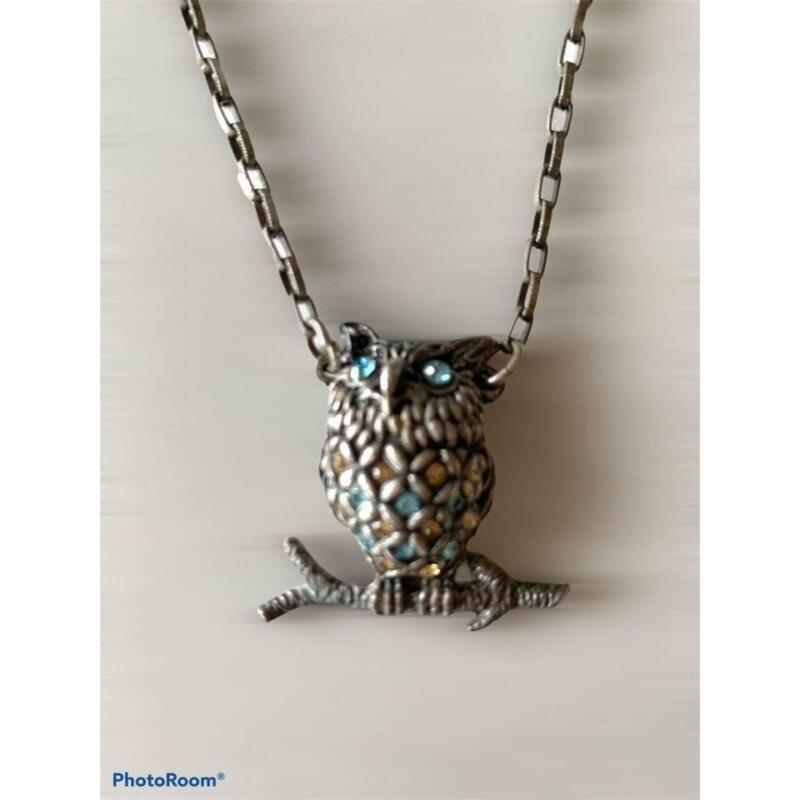 Mary Demarco Owl Pewter Jeweled Necklace