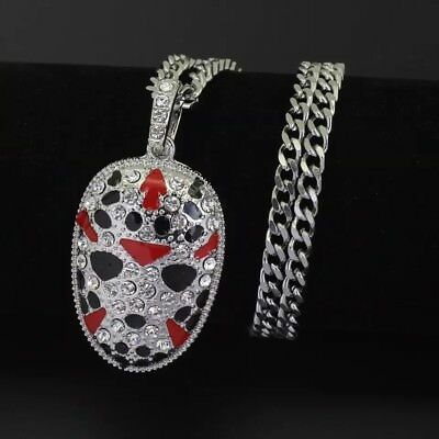 Silver Jason Hockey Mask Iced Out Pendant 30