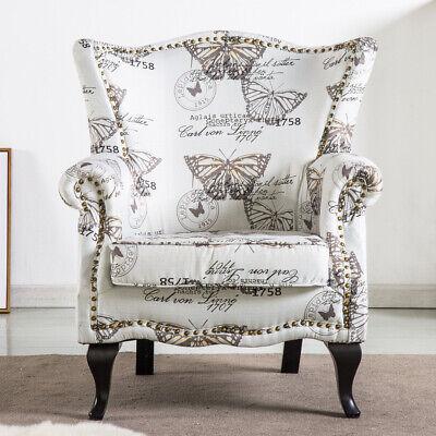 Chesterfield Butterfly Velvet Queen Anne Armchair Wing Back Rivet Fireside Chair