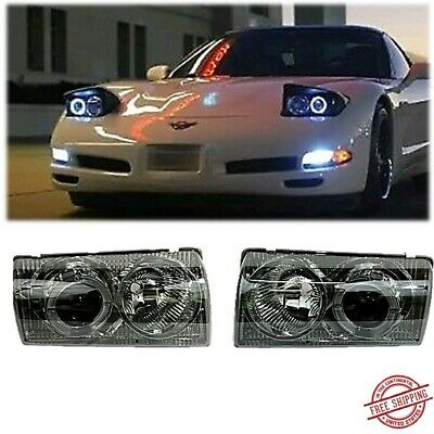 - Fits 1997/2004 Chevy Corvette C5 Front Headlights Halo Projector Smoke Housing