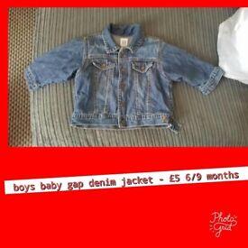 Boys baby gap denium jacket size 6/9 months