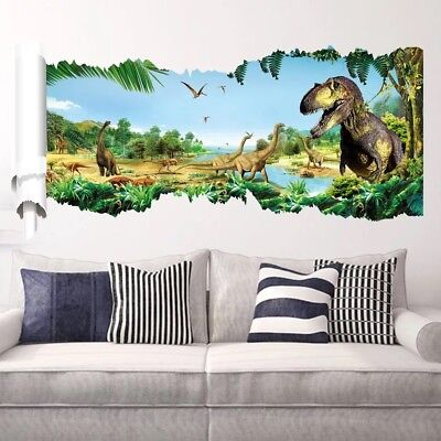 Jurassic Park Kids Room Wall Decal 3D Reusable Large Window Party Decoration - Jurassic Park Decorations