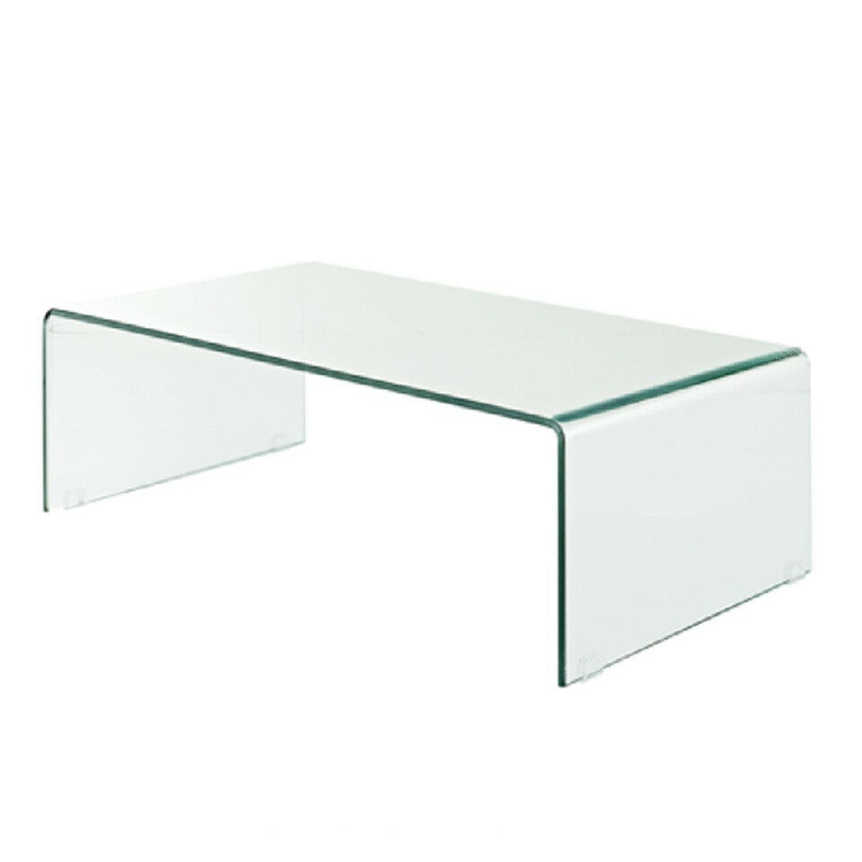 """Fab Glass and Mirror Bent Glass Coffee Table, 3/8"""" Inch Thic"""