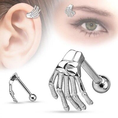 Augenbrauenpiercing Skelett Hand Piercing Neuware Lippe Silber