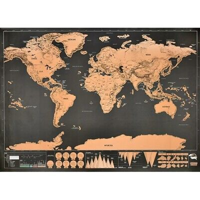 Deluxe Travel Edition Scratch Off World Map Poster large 17 X 12 in