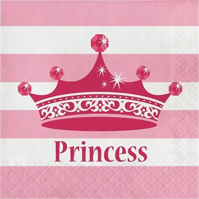 16 x Princess Crown Napkins 33cm Girls Birthday Party Tableware Supplies Pink