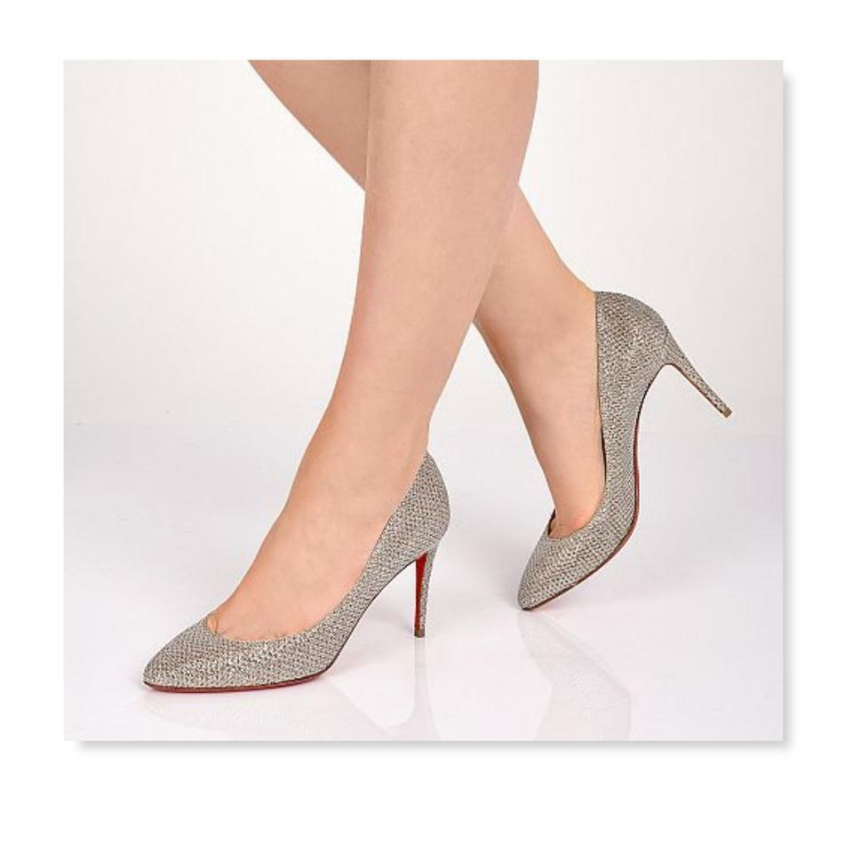 Christian Louboutin ELOISE 85 Glitter Pumps Gold Heels Shoes 40
