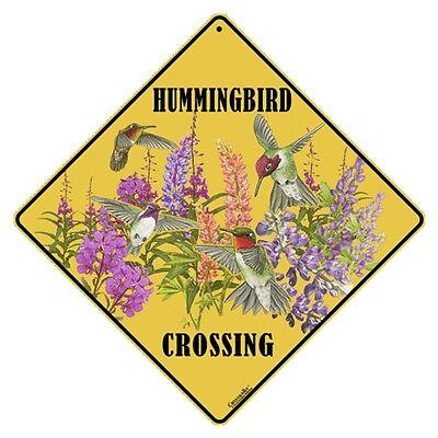 "HUMMINGBIRD Crossing Sign, 12"" on sides, 16"" on Diagonal, Aluminum, In/Ourdoor"
