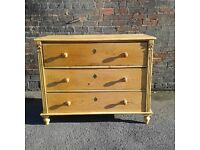 Victorian, rustic, cottage, tall, deep and wide stunning chest of pine drawers