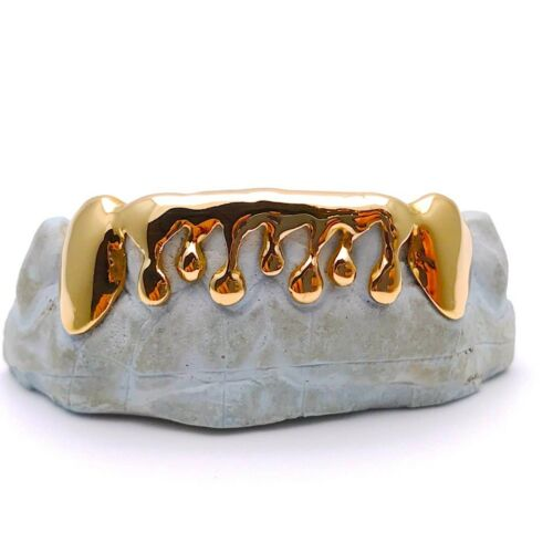 Solid 10K,14K Yellow Gold Drip Dripping Style Custom Fit Handmade Grill Grillz