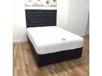 Luxury black leather diamond bed
