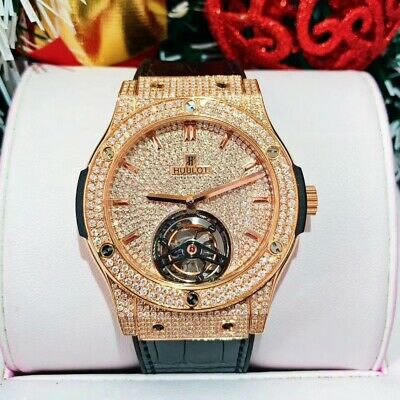 Hublot Classic Fusion 505.OX.1180.LR Rose Gold Diamonds Tourbillon 45mm Watch