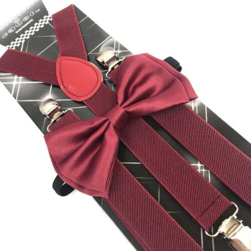 Burgundy Suspender And Bow Tie Set Tuxedo Wedding Formal For Adults (usa)