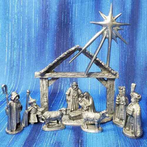 Nativity Christmas Pewter Figurine Ray Lamb US Made Jesus Mary Joseph Wisemen