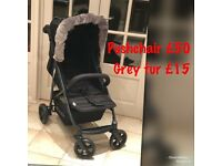 Hauck rapid 4 pram pushchair buggy black unisex stroller easy to fold with without fur