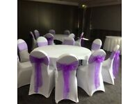 Chair covers 50 p hire bows all colours 50 p set up free weddings birthday engagements ect stunning
