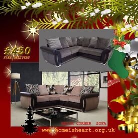 * *HOME IS HEART CHRISTMAS SALE * Luxury Helix Chenille Corner Sofas ** FREE DELIVERY **