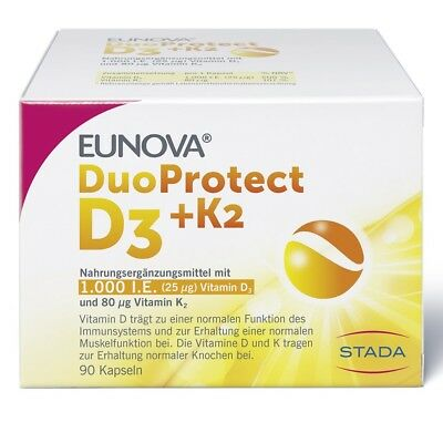 EUNOVA DuoProtect D3 K2 1000 IE 80 myg Kapseln 90 Stück PZN 13360645