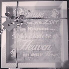 White Framed Heaven in Our Home Memorial Picture