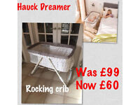 brand new in box hauck dream er rocking crib like moses basket with mattress in dots sand