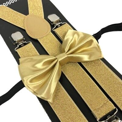 Champagne Gold Suspender and Bow Tie Set Wedding Formal for Men Women (USA) - Gold Suspenders And Bowtie