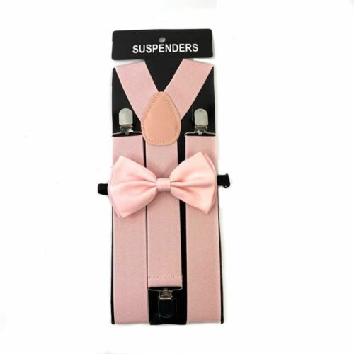 """Blush Pink Wide 1.5"""" Suspender And Bow Tie Adult Men"""