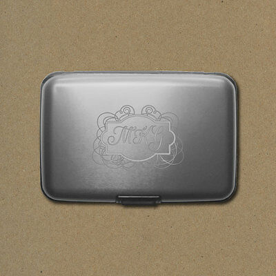 Personalized Aluminum Rfid Credit Card Wallet   Silver   Engraved In Usa