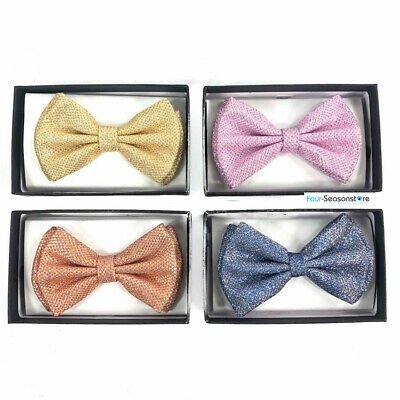 2019 new style Sparkle 1x Pre-tied bow tie 4 Colors Gold, Pink, Blue & Rose Gold (Gold Glitter Bow)