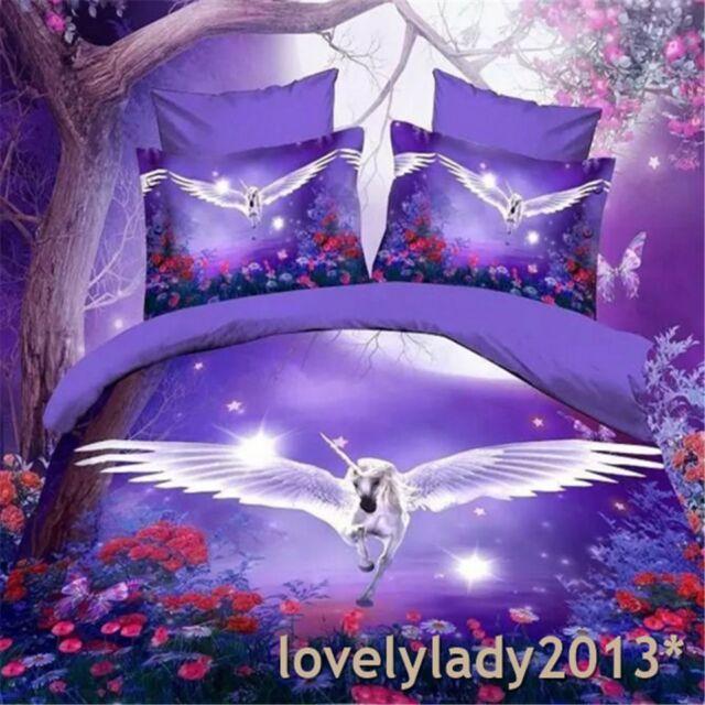 3D Purple Unicorn Queen Size Bed Quilt/Doona/Duvet Cover Set  Polyester 4PCS