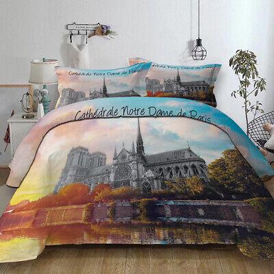 3D Retro Notre-Dame of Paris Bedding Set Duvet Cover Comforter Cover Pillow Case