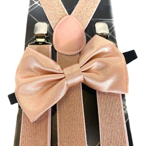 Suspender And Bow Tie Adults Men Rose Gold Glitter Set Formal Wear Combo Pink