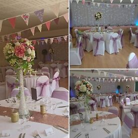 Wedding/event decoration.. Chair cover hire from £1 including sash, bows