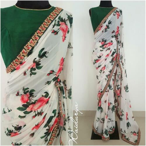 White Floral Printed Bollywood Saree Party Wear Ethnic Wedding Designer Sari
