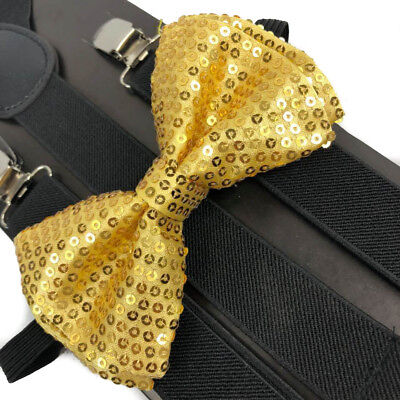 Gold Sequin Bow Tie & Black Suspender Set Tuxedo Wedding Accessories U.S Seller