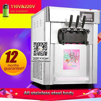 Three Heads Soft Serve Ice Cream Maker Machine Stainless Steel