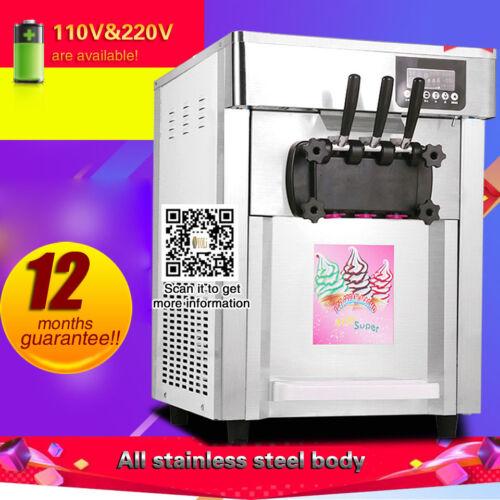 three heads Soft serve Ice Cream Maker machine, stainless steel