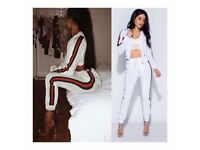 White velvet stripe hooded tracksuit loungewear size 6-14 £30