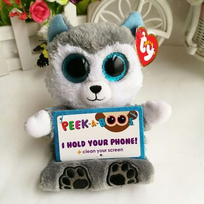 "TY 6"" Peek-A-Boos With Tag Scout Husky Dog Phone Holder Kids Plush Stuffed Toys"