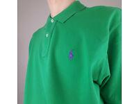 Green Ralph Lauren polo shirt in green with purple logo