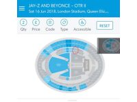 Pair of side stage seat tickets to Beyoncé & Jay-Z