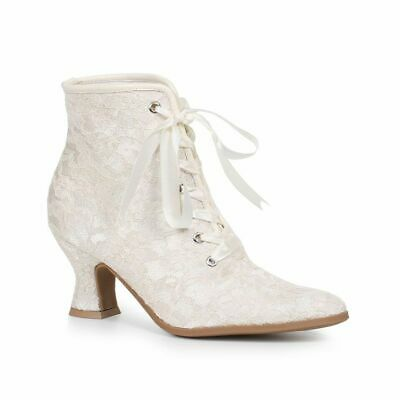 Cream Off White Lace Vintage Victorian Steampunk Edwardian Womans Boots Shoes