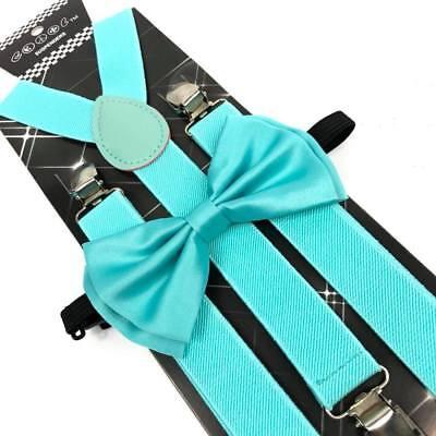 Wedding Tuxedo Formal Wear Accessories Mint Blue Color Men Bow Tie & Suspender - Mint Blue Color