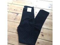 Topshop tall black patterned leggings / pants BNWT. UK10
