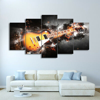 Electric Guitar On Fire Flame Burning 5 Panel Canvas Print Wall Art Home Decor (Electric Guitar Decorations)
