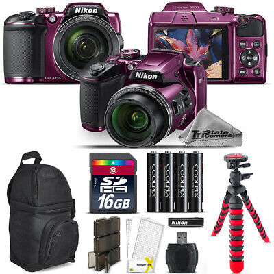 Nikon COOLPIX B500 Plum Camera 40x Optical Zoom + Tripod + Backpack - 16GB Kit