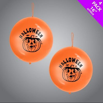 4 x Halloween Orange Pumpkin Pack Punch Party Balloons Decoration Kids Party Fun - Orange Halloween Punch
