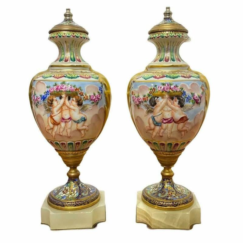 Antique Pair of French Hand Painted Cherub White Porcelain Ormolu Sevres