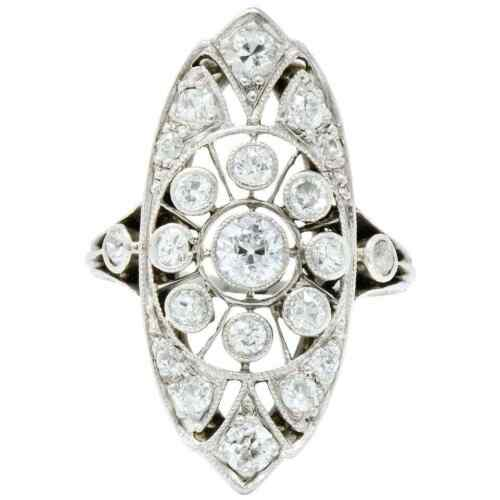 Classic Vintage Bezel Set Old European Cut Cubic Zirconia 925 Real Silver Ring