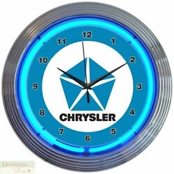CHRYSLER BLUE PENTASTAR 15 Neon Wall Clock Glass Face Chrome Plate Warranty New