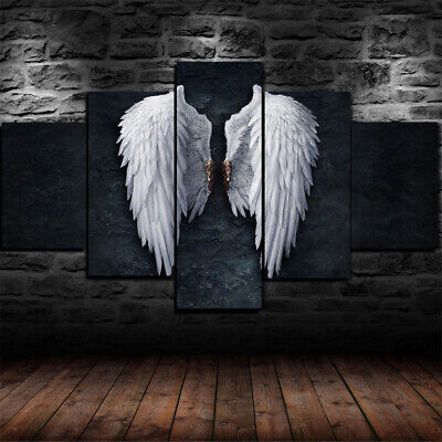 Framed Broken Angel Wings Statue Canvas Print Modern Wall Art Home Decor 5 Piece